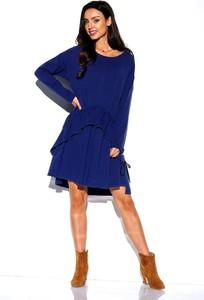 Niebieska sukienka Lemoniade z okrągłym dekoltem prosta mini
