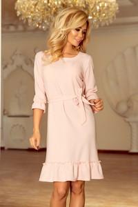 Różowa sukienka NUMOCO z długim rękawem