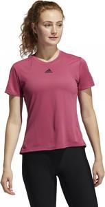 Różowa bluzka Adidas w sportowym stylu z okrągłym dekoltem