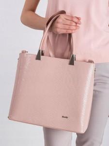 Różowa torebka Rovicky duża ze skóry ekologicznej z tłoczeniem