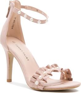 Różowe sandały Jenny Fairy na szpilce na wysokim obcasie ze skóry ekologicznej