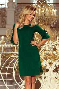 Zielona sukienka NUMOCO z okrągłym dekoltem z długim rękawem