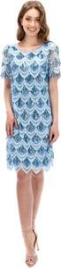 Niebieska sukienka Lavard prosta z okrągłym dekoltem z krótkim rękawem