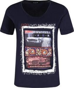 Czarny t-shirt Desigual z okrągłym dekoltem z nadrukiem w młodzieżowym stylu