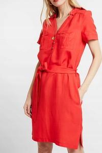 Sukienka Inna z dekoltem w kształcie litery v z krótkim rękawem koszulowa
