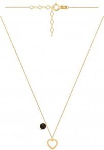 Lovrin Złoty naszyjnik 585 Delikatny naszyjnik z serduszkiem i czarnym kamieniem.