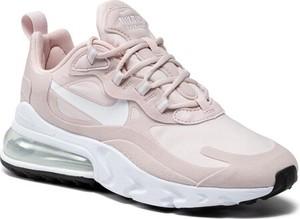 Różowe buty sportowe Nike sznurowane air max 270 ze skóry