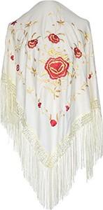 La Senorita La seno Rita hiszpańskim manton, chusta – kremowy biały złoty z czerwonymi kwiaty