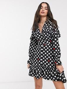 Sukienka Ax Paris z długim rękawem asymetryczna z dekoltem w kształcie litery v