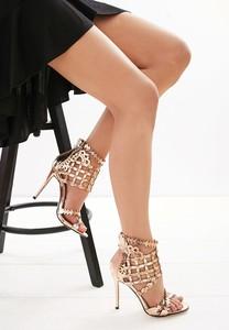 Złote sandały renee w stylu glamour na zamek