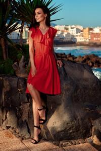 Czerwona sukienka Lemoniade z dekoltem w kształcie litery v midi w stylu casual