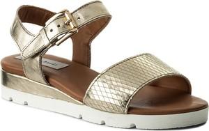 Złote sandały sergio bardi z klamrami ze skóry