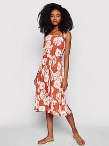 Sukienka Roxy midi z okrągłym dekoltem na ramiączkach