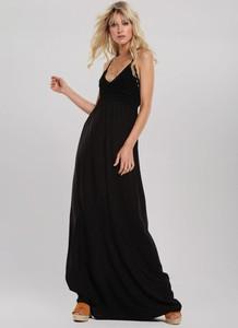 Czarna sukienka Renee z dekoltem w kształcie litery v maxi bez rękawów