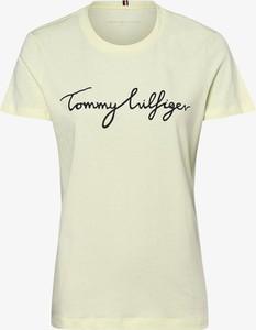 Żółty t-shirt Tommy Hilfiger z okrągłym dekoltem z krótkim rękawem