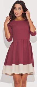 Różowa sukienka Katrus mini z długim rękawem