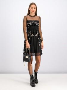Czarna sukienka Twinset z długim rękawem mini z okrągłym dekoltem