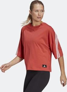 Czerwona bluzka Adidas z bawełny z krótkim rękawem