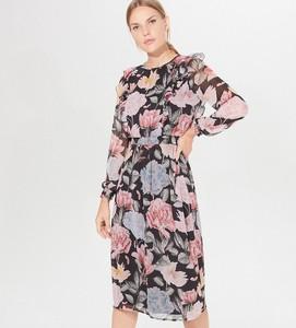 Sukienka Mohito z szyfonu midi z długim rękawem