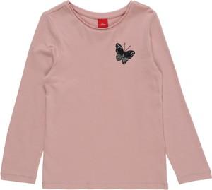 Różowa bluzka dziecięca S.Oliver z dżerseju