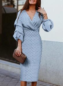 Niebieska sukienka Cikelly z długim rękawem midi ołówkowa