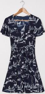 Granatowa sukienka House z krótkim rękawem mini