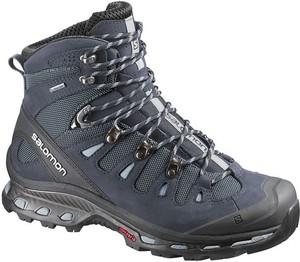 Granatowe buty trekkingowe Salomon z płaską podeszwą w sportowym stylu