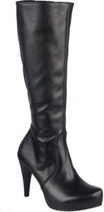 Czarne kozaki Jankobut przed kolano na szpilce ze skóry ekologicznej