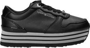Czarne buty sportowe Tommy Hilfiger na platformie ze skóry ekologicznej
