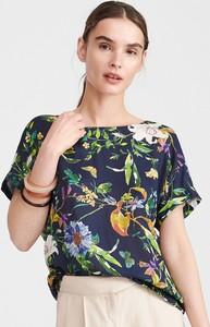 Granatowa bluzka Reserved z krótkim rękawem z okrągłym dekoltem