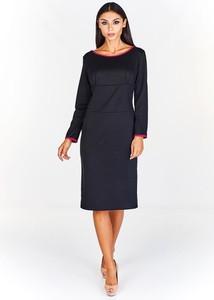 Czarna sukienka Fokus z okrągłym dekoltem ołówkowa z długim rękawem