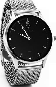 Zegarek KING HOON na srebrnej bransolecie - czarna tarcza