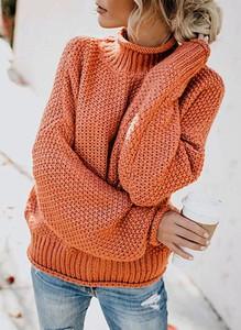Pomarańczowy sweter Arilook w stylu casual