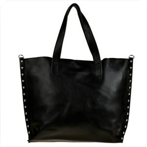 Czarna torebka Borse in Pelle w stylu glamour ze skóry