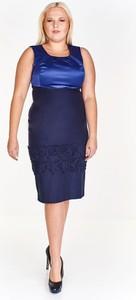 Granatowa sukienka Fokus z okrągłym dekoltem bez rękawów midi