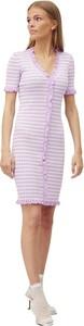 Fioletowa sukienka A-view z krótkim rękawem mini