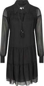 Czarna sukienka Michael Kors z długim rękawem koszulowa