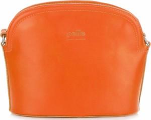 Torebki skórzane listonoszki firmy genuine leather pomarańczowe