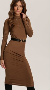 Brązowa sukienka Renee z długim rękawem w stylu casual