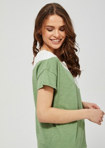 T-shirt Moodo z bawełny z krótkim rękawem z okrągłym dekoltem