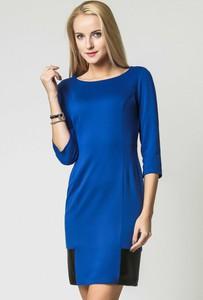 Niebieska sukienka sukienki.pl ołówkowa ze skóry