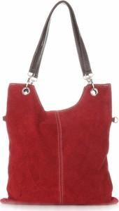 Czerwona torebka GENUINE LEATHER w stylu casual ze skóry na ramię