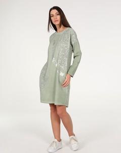 Zielona sukienka Unisono z bawełny mini z długim rękawem