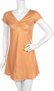Pomarańczowa sukienka Emory Park z dekoltem w kształcie litery v w stylu casual z krótkim rękawem