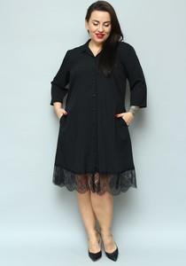 Sukienka KARKO z długim rękawem midi koszulowa