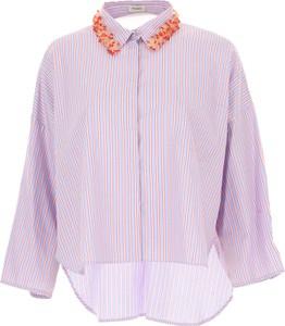 Różowa koszula Pinko w stylu casual z długim rękawem z bawełny
