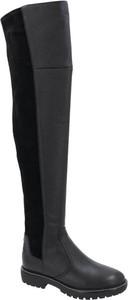 Czarne kozaki Tory Burch w stylu casual ze skóry na zamek