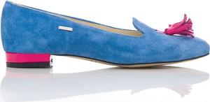 Niebieskie baleriny Zapato w stylu casual ze skóry