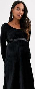 Czarna sukienka Mama Licious z satyny
