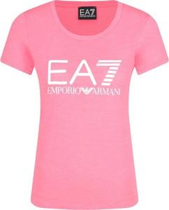 Różowy t-shirt EA7 Emporio Armani z okrągłym dekoltem
